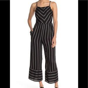 Mimi Chica Twill Stripe Print Wide Leg Jumpsuit